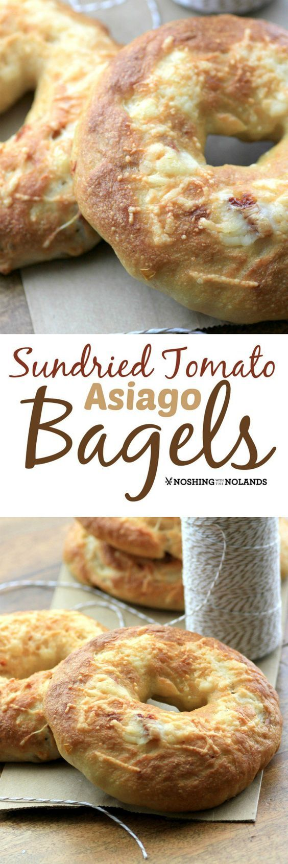 Sundried Tomato Asiago Bagels by Noshing With The Nolands are a scrumptious addition to your morning!  Enjoy the savory flavors fresh from the oven!