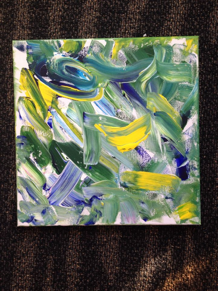 Don't waste paint if left over at end of oldies art class put it on a canvas and make it something. July 2014 Injune