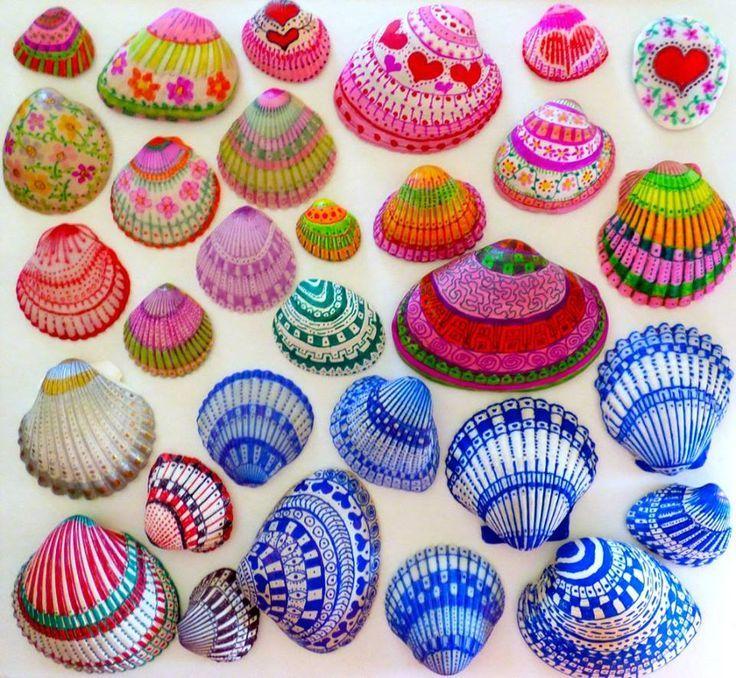 caracolas de mar pintadas - Buscar con Google