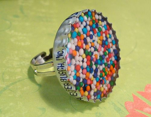 Rainbow Sprinkles Resin Bottle Cap Ring by strungoutandwired, via Flickr