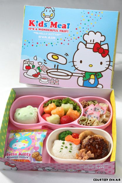 OMG - there is a Hello Kitty Plane!!?? Kids meal on Taiwan's EVA Air Hello Kitty airplanes.
