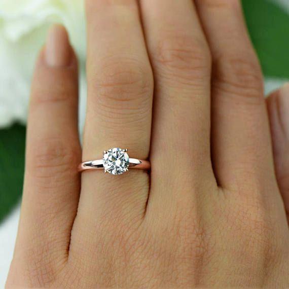 SZ 10, 1 ct Low-Profile Solitär Verlobungsring, Mann gemacht Diamant Simulant, breiter Ring, Sterling Silber, Rose vergoldet, 40 % Ausverkauf