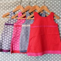 Traditional South African shweshwe material dresses (also includes matching bloomers)