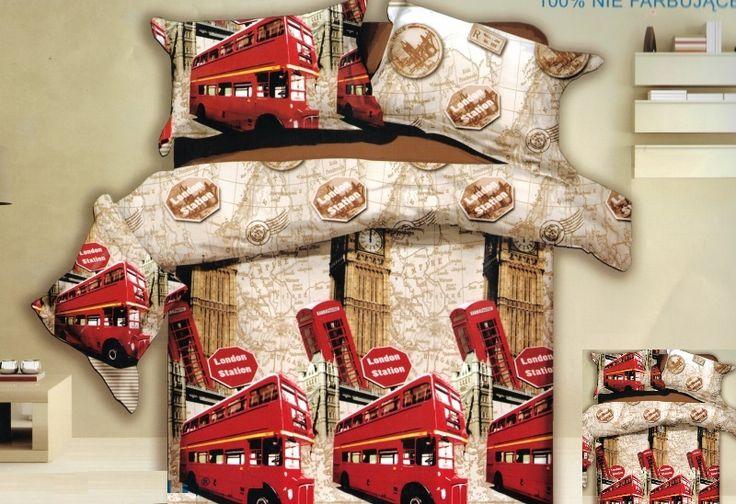 Czerwone londyńskie autubusy pościel w kolorze beżowym