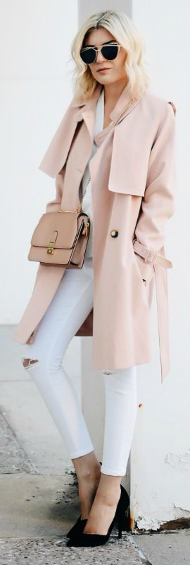 A light pink trench coat + fresh and summery feel + white jeans + pink trench + even cuter style + Emily Luciano.  Trench/Jeans: Topshop.