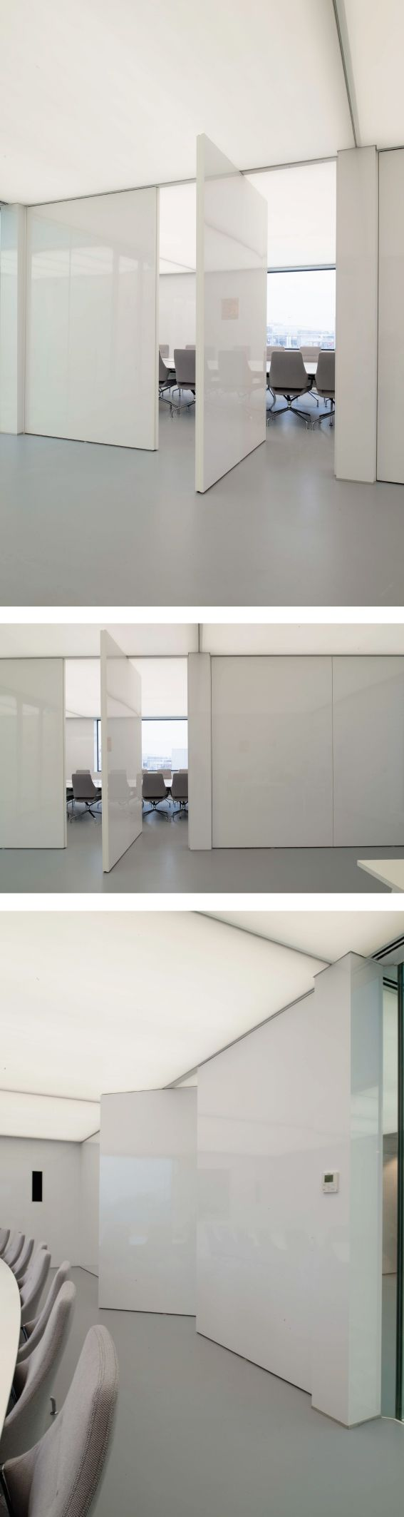 White HPL Pivot Doors fitted in a translucent stretch ceiling. #pivotdoors #interiordoor