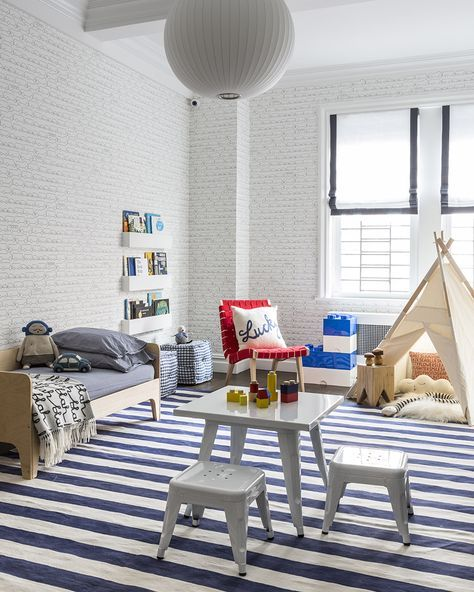 25 Vivacious Kids Rooms With Brick Walls Full Of Personality: Oeuf Perch Toddler Bed And That Striped Carpet