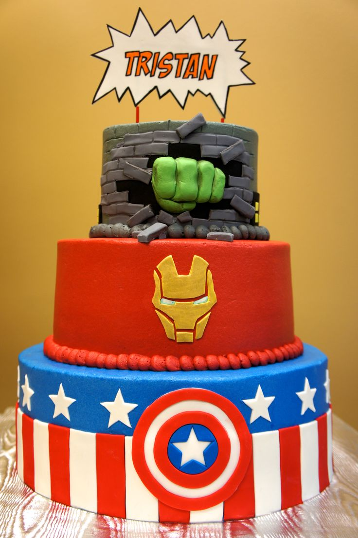 Superhero cake- by Fresh & Frosted. www.freshandfrosted.com  Avengers on the front... other favorite superheroes on the back.  The first time I found my own cake on Pinterest!  :)