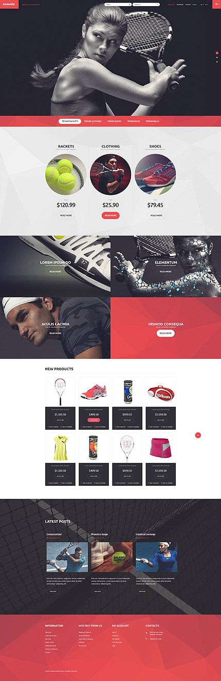 Tennis Equipment Online Store #Magento #template. #themes #business #responsive #webshop