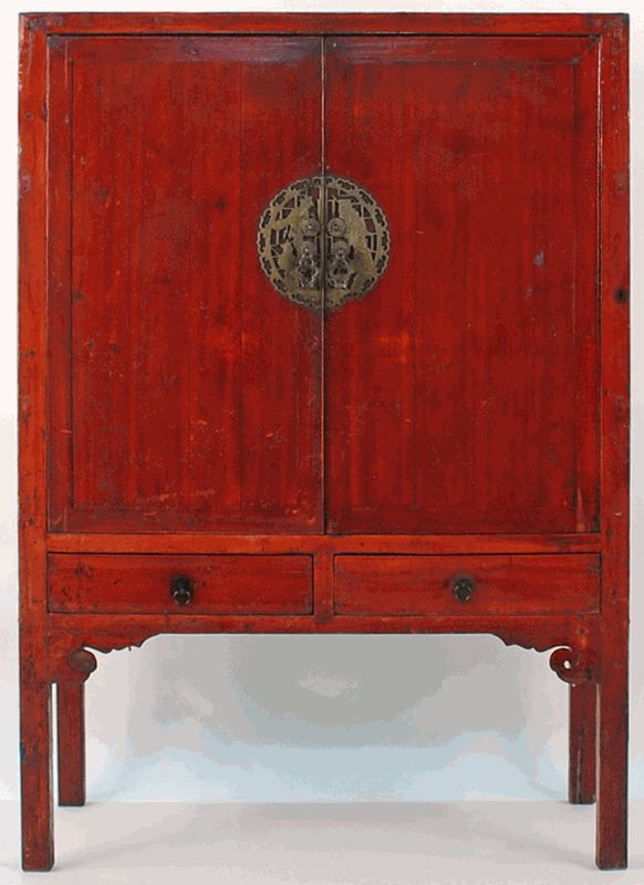 Antique asian furniture chinese 2 door armoire cabinet for Antique asian cabinet