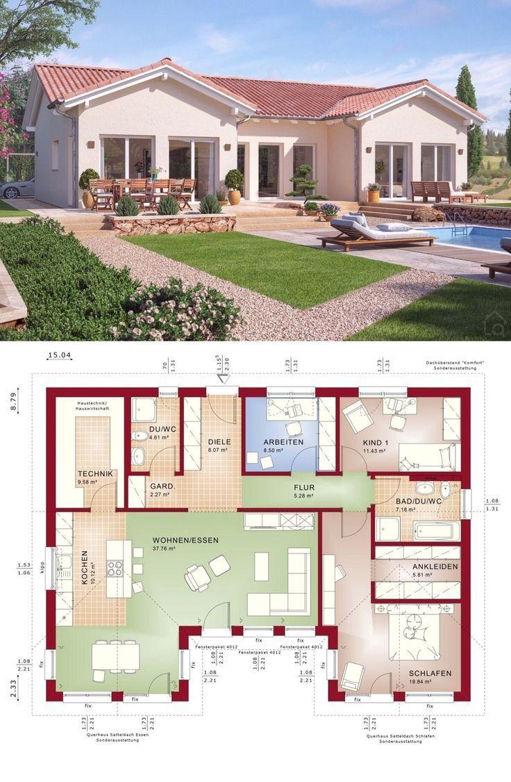 Bungalow Haus Mediterran im Landhaus Stil mit Satteldach Architektur & Grundriss… – HausbauDirekt