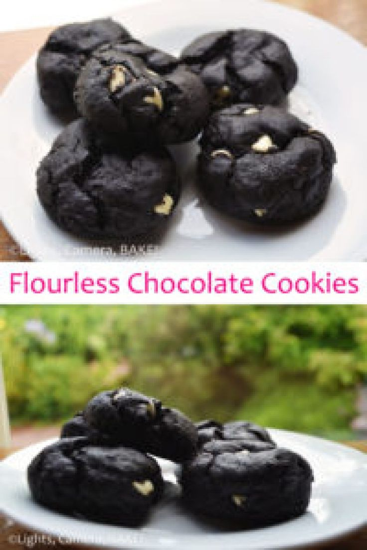 Flourless Chocolate Cookies are a healthy alternative to regular chocolate cookies. Super rich and delicate you won't know the difference! Click the photo for the recipe. #baking #healthy #dessert