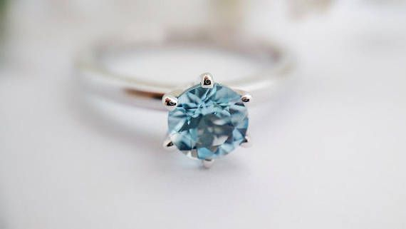**HAPPY TO OFFER FREE SHIPPING TO USA AND CANADA FOR A LIMITED TIME ONLY! **FEDEX EXPRESS UPGRADE AVAILABLE AT CHECKOUT! Aquamarine 6-Claw Ring in 10kt White Gold (6mm) This is the perfect engagement or promise ring for any lady born in March or anyone that adores the softness and