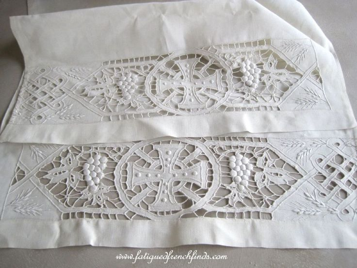 Antique French Pure Linen Altar Cloth Antependium With Gorgeous Richelieu Embroidery 468cms Long www.fatiguedfrenchfinds.com