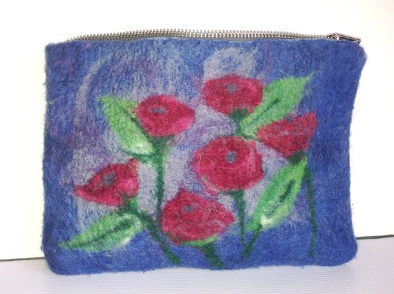 Blue Grey Burgundy Clutch Bag Red Poppy Flowers by LaVieBoeretroos