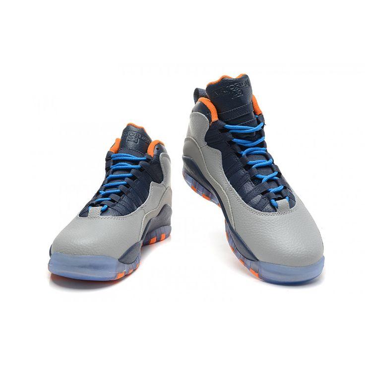 "Air Jordan 10 (X) Retro ""Bobcats"" Wolf Grey/New Slate-Atomic Orange-Dark Powder Blue"