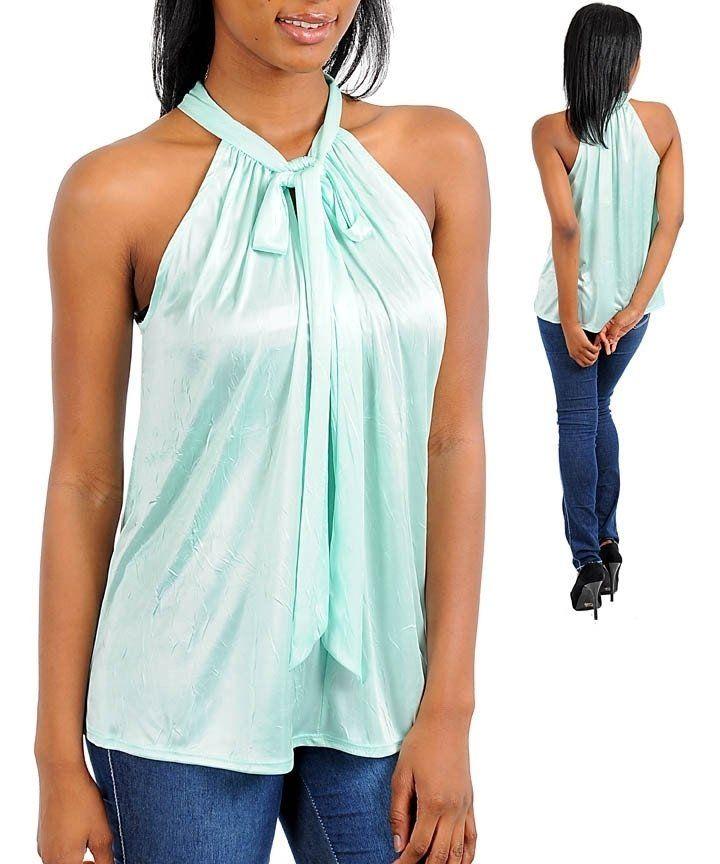 Mint Sexy Career Silk Satin Halter Blouse Shirt Top
