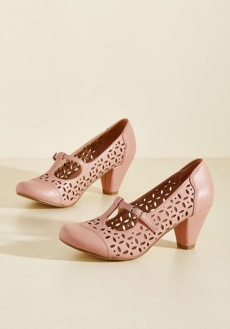 Opting for Intrigue T-Strap Heel in Petal in 37, #ModCloth