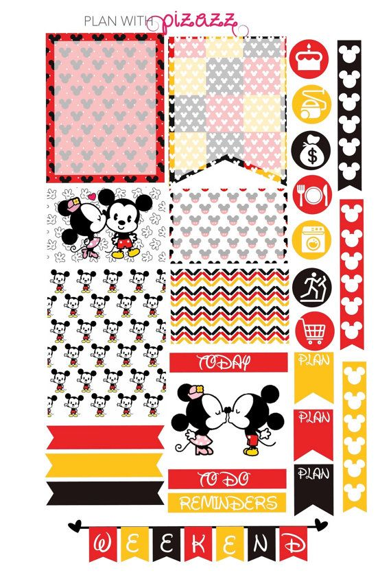 Disney MICKEY MOUSE & MINNIE Mouse Inspired Weekly theme sticker set Perfect for Erin Condren Life Planner