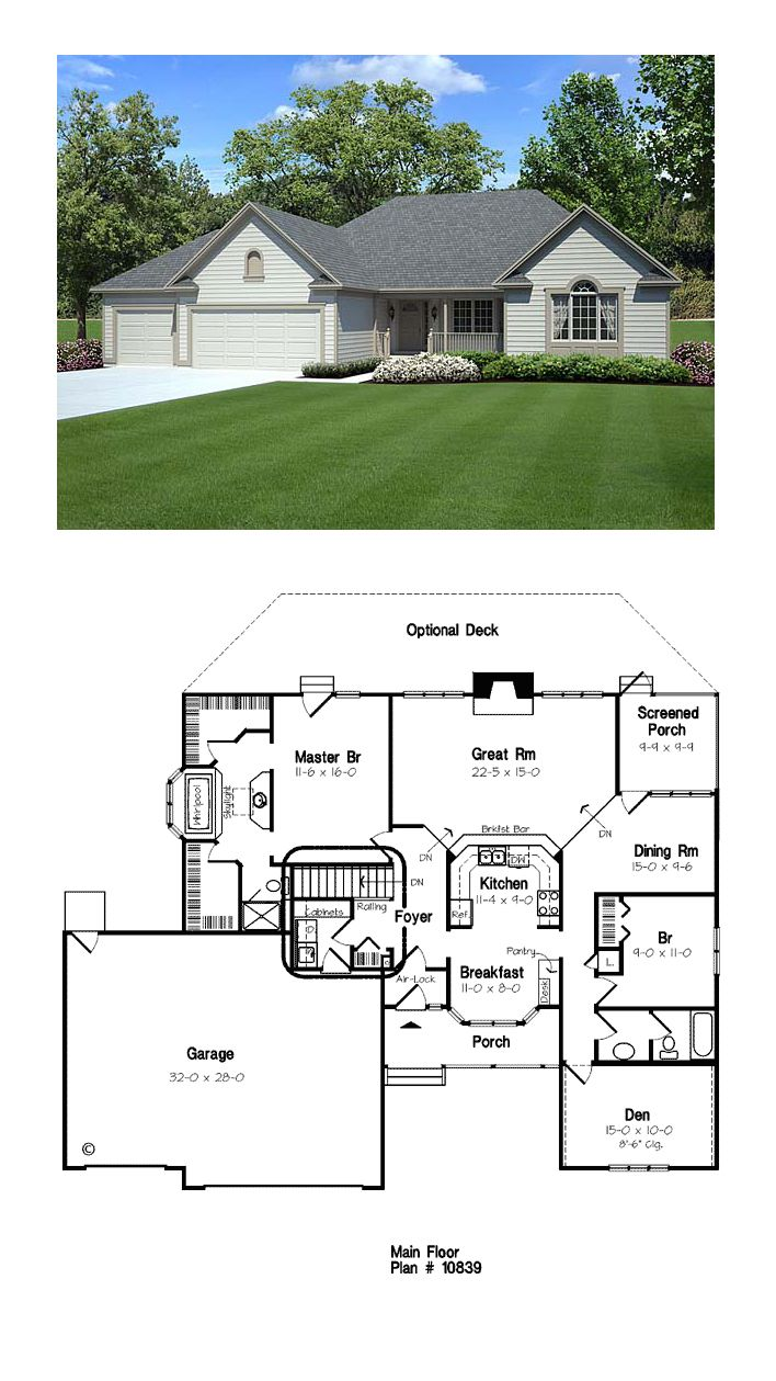 92 best ranch style home plans images on pinterest for Popular ranch floor plans