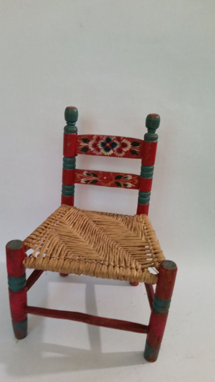 Vintage Child's Chair Folk Art Painted Wood Chair Woven Cane Seat Rustic Kid's Chair Vintage Child's Furniture 1980's by ZoomVintage on Etsy