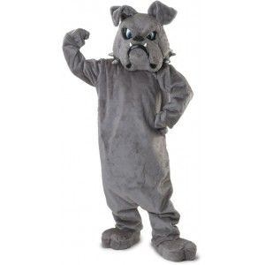 Bulldog Plush Mascot Costume Price: $545.00  Adult size Tiger mascot costume set includes the over head oversized mascot head with spiked collar faux fur plush jumpsuit body mitts spats and parade big feet. Great for sports teams or other promotional use.  One size fits all adults.  #cosplay #costumes #halloween
