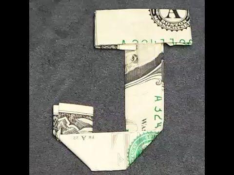 Fold Origami Dollar Bill Alphabet Letter J
