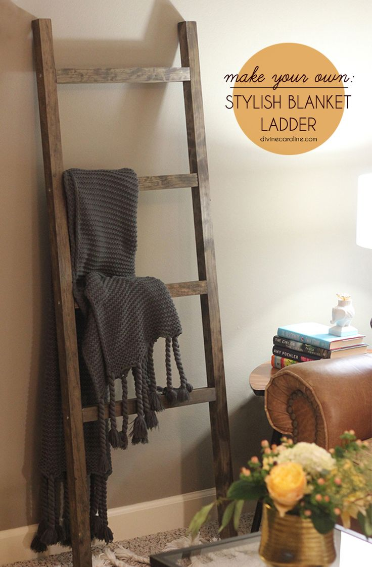 Add a dose of shabby chicness to your home with this stylish storage solution. You can rest a DIY blanket ladder against the wall and use it to drape blankets for a decorative way to store your winter must-haves. - DivineCaroline.com