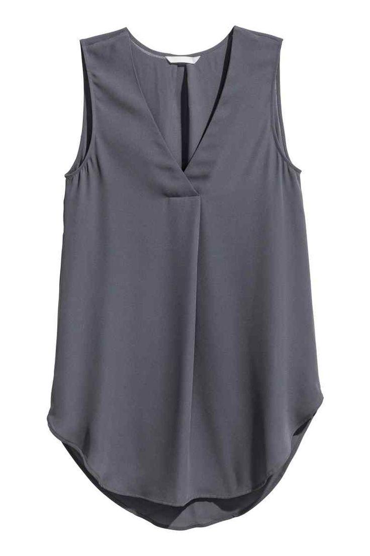 Blusa em crepe - Cinzento escuro - SENHORA   H&M PT