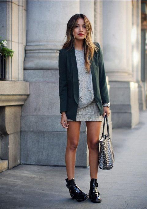 1000 id es propos de tenues de blazer vert sur pinterest v tements de travail femmes tenue - Tenue cuir femme ...