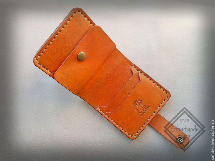 Купить Кошелек мужской - рыжий, handmade, кошелек из кожи, кошелек ручной…