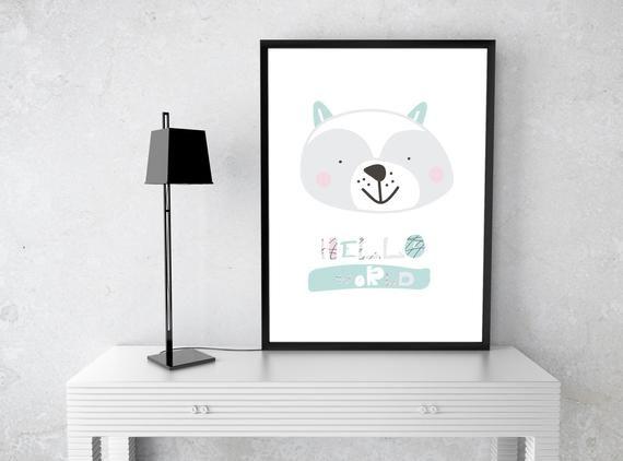 printable animal poster bear nursery print poster baby room wall rh pinterest com