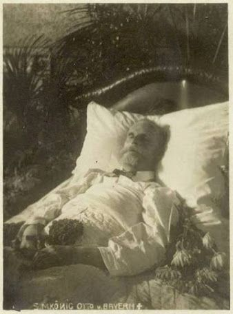 King Otto's body in repose, 1916 -  Otto Wilhelm Luitpold Adalbert Waldemar von Wittelsbach (1848–1916), was King of Bavaria from 1886 to 1913.  Otto was officially classified as mentally ill in 1872. He became King on 13 June 1886. He was however, unable to rule. The official explanation was that the King is melancholic. The proclamation of his inauguration was read to him at Fürstenried castle the next day, but he failed to understand it, & held his uncle Luitpold for the rightful King.