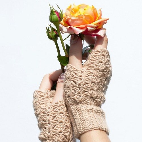 #Crochet #Lace #Beige #Mittens #Cozy #Fingerless by #ColorfulMosaic