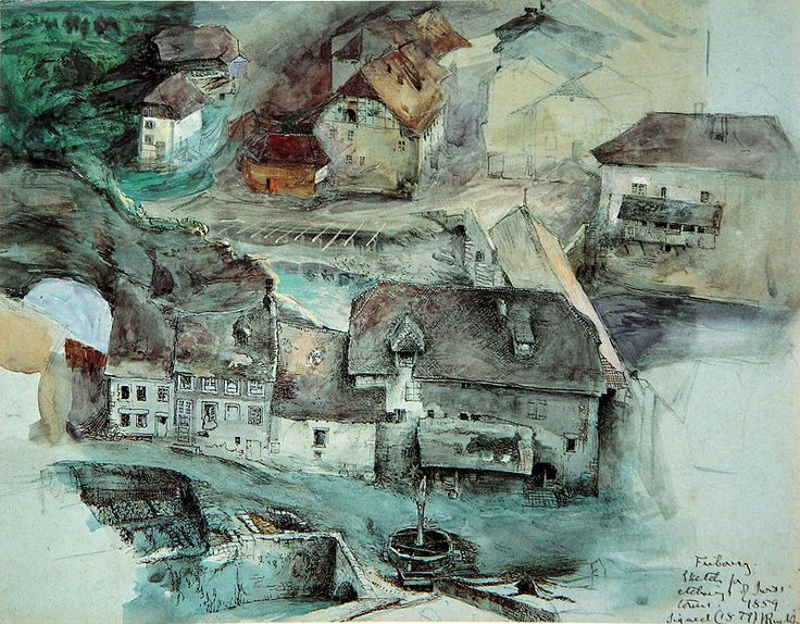 John Ruskin: Fribourg, Suisse. (pencil, ink, watercolour and bodycolour; 22.5 x 28.7 cm).