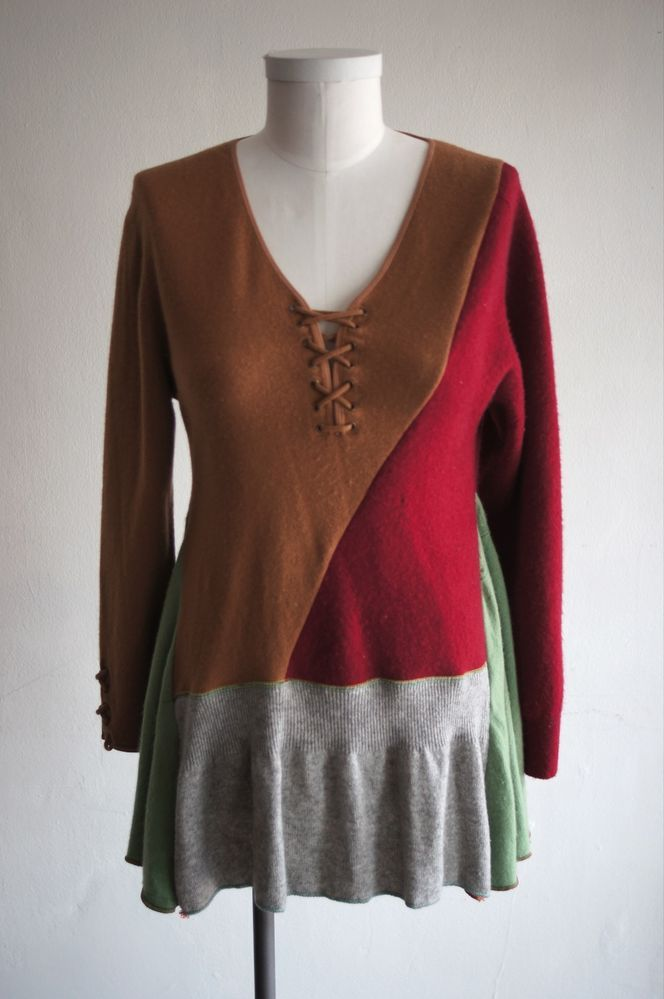 One of a kind, recycled cashmere sweater made from repurposed assorted cashmere