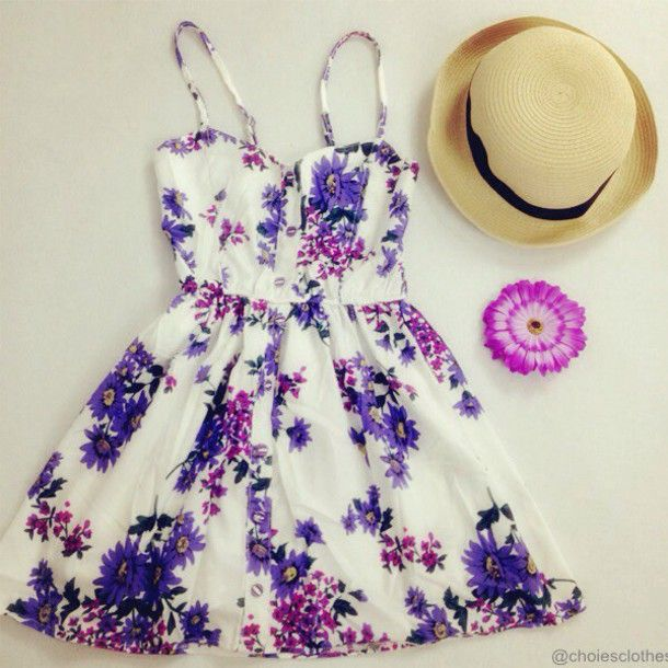 Purple Summer Dresses | dress purple flowers sundress cute dress short dress gorgeous ...