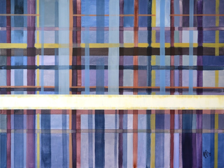 """""""A strong white horizontal line (Blue)"""" Charlie Miller 2013 120 x 90cm Acrylic on canvas"""