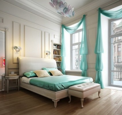 Romantic Bedroom Design Ideas for Couple: Decor Ideas, Aqua Blue, Bedrooms Design, Tiffany Blue, Interiors Design, Blue Bedrooms, High Ceilings, Window Treatments, Bedrooms Ideas