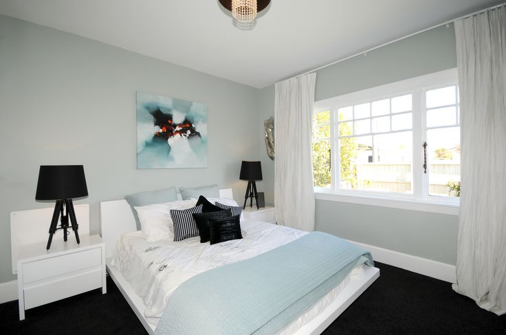 Half Robins Egg Blue - Karen Walker. Mokum Drapery. Soft, calm, peaceful bedroom.