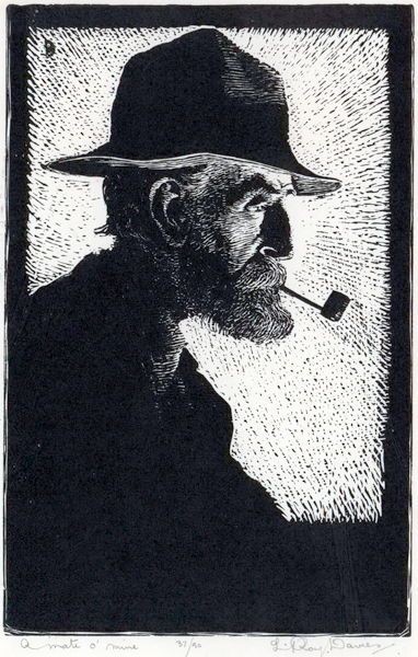 L. Roy Davies (Aus., 1897-1979)  A Mate O' Mine, 1924. Wood engraving,