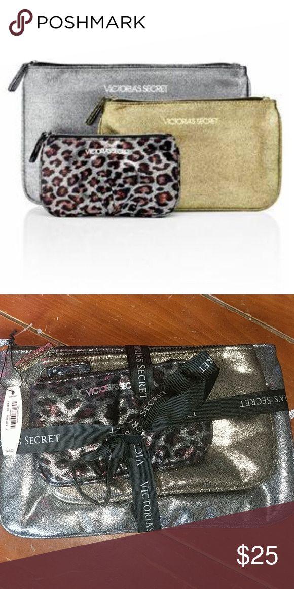 Victoria's Secret Bag Trio Large silver, Medium gold and Small leopard print bag set. Victoria's Secret Bags