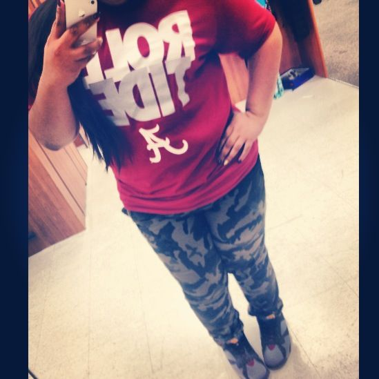 Alabama Crimson Tide! Camo | Jordan 7s (Bordeaux) | Nike Roll Tide Shirt