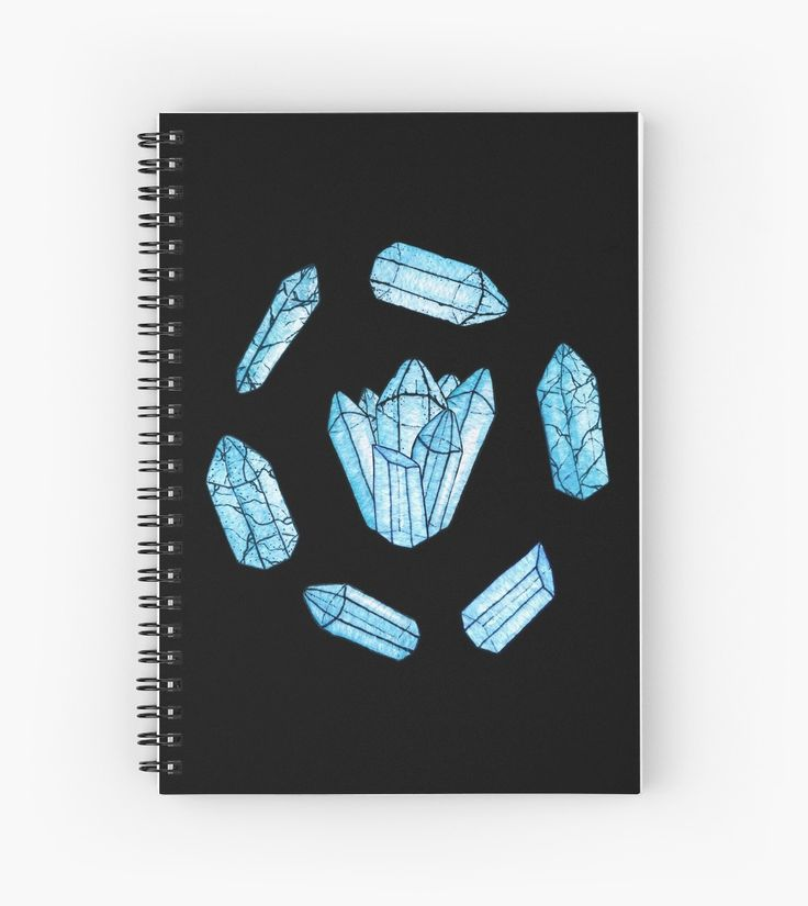 Blue Crystals Spiral Notebook by WitchyShop #WitchyShop #crystals #blue #quartz #gothic #witch #witchcraft #black #watercolor #ink #line #outline #contour #stones #treasure #gems #magic #magical #shape #topaz #cracks #group #natural #mineral #art #illustration #artwork #write #redbubble #note #book #notebook #sale #buy #stationery