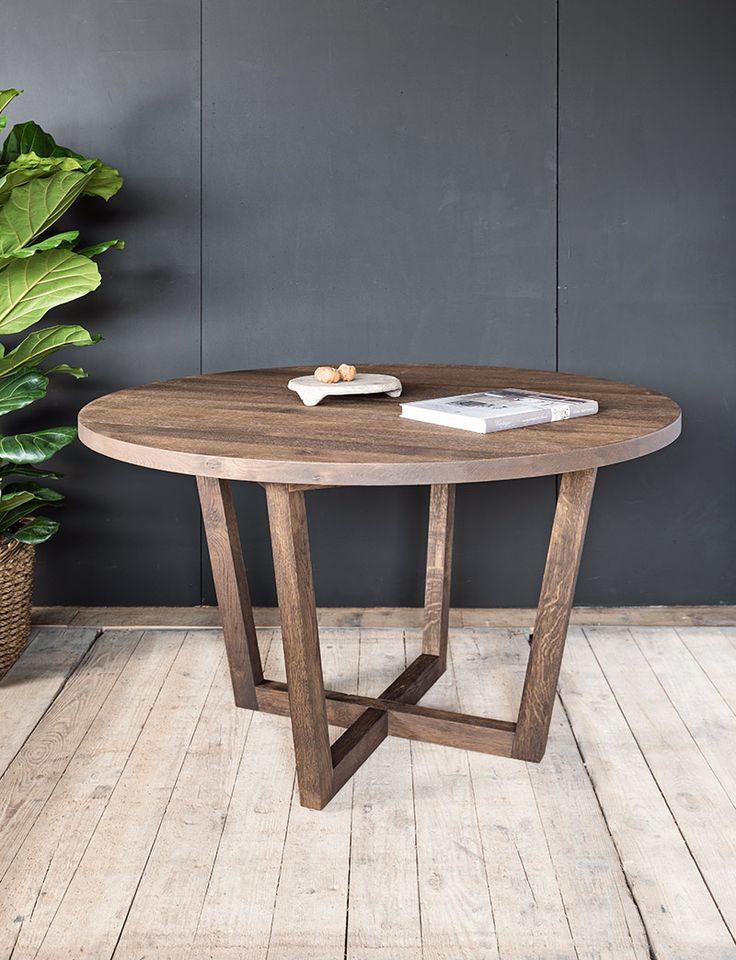 Ronde massieve houten tafel