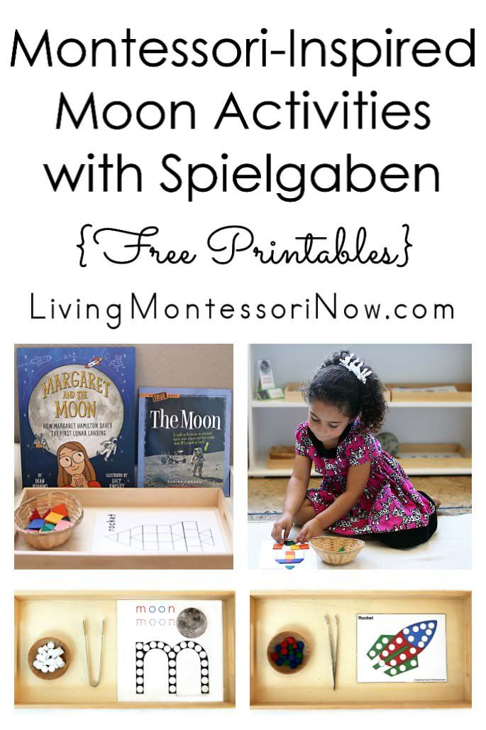 Montessori-inspired moon activities that can be prepared using Spielgaben educational toys and free printables - Living Montessori Now #Montessori #homeschool #Spielgaben #moon