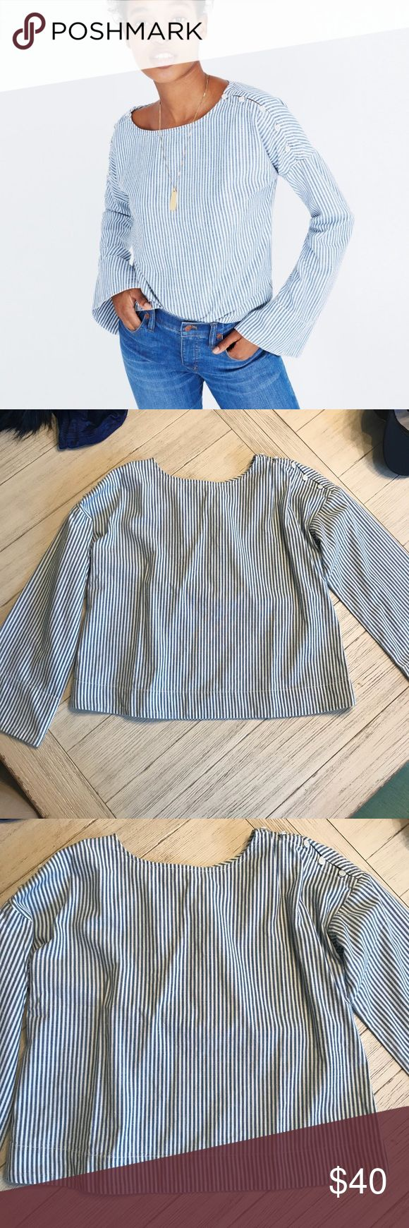 Convertible Cold Shoulder Chambray NWT!  Layer it now or save it for the spring!  Classic striped Chambray with button detailed shoulders for a twist.  Paired with skinnies or white pant would be perfection. Madewell Tops Blouses