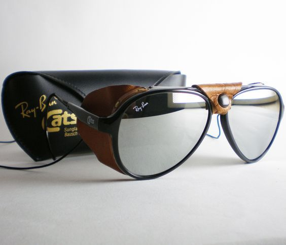 Vintage  rayban Cats 8000 Mirrored Aviator Sunglasses With Leather Side  Shields  Mensfashion  shades cc1cab11f2
