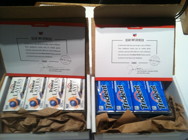 """""""Thanks Trident® Chewing Gum & Klout for the Awesome Perk!"""" -- via Christophe Esposito (Facebook): Awesome Perk, Klout Perk, Esposito Facebook, Christopher Esposito"""