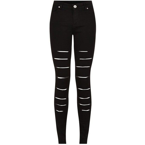 Black Extreme Ripped Skinny Jeans ($39) ❤ liked on Polyvore featuring jeans, pants, bottoms, black, super skinny jeans, skinny leg jeans, distressed jeans, denim skinny jeans and destroyed jeans